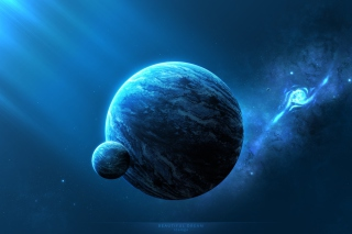 Blue Space Background for Android, iPhone and iPad