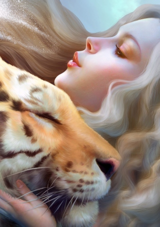 Girl And Tiger Art sfondi gratuiti per 640x1136