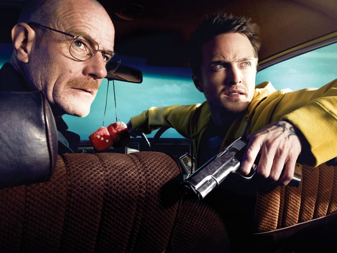 Screenshot №1 pro téma Jessie Pinkman Aaron Paul and Walter White Bryan Cranston Heisenberg in Breaking Bad 1280x960