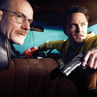 Kostenloses Jessie Pinkman Aaron Paul and Walter White Bryan Cranston Heisenberg in Breaking Bad Wallpaper für iPad 2