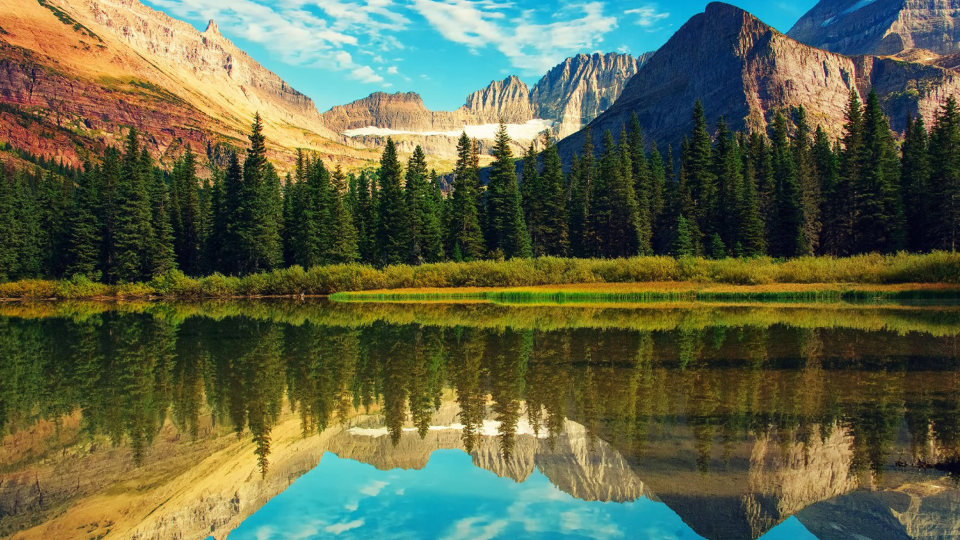 Screenshot №1 pro téma Glacier National Park in Montana 1366x768