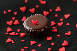 Chocolate Cupcake With Red Heart Background for Android, iPhone and iPad