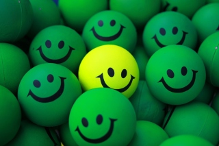 Smiley Green Balls Background for Android, iPhone and iPad