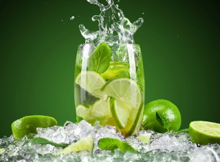 Glass With Lime Background for Android, iPhone and iPad