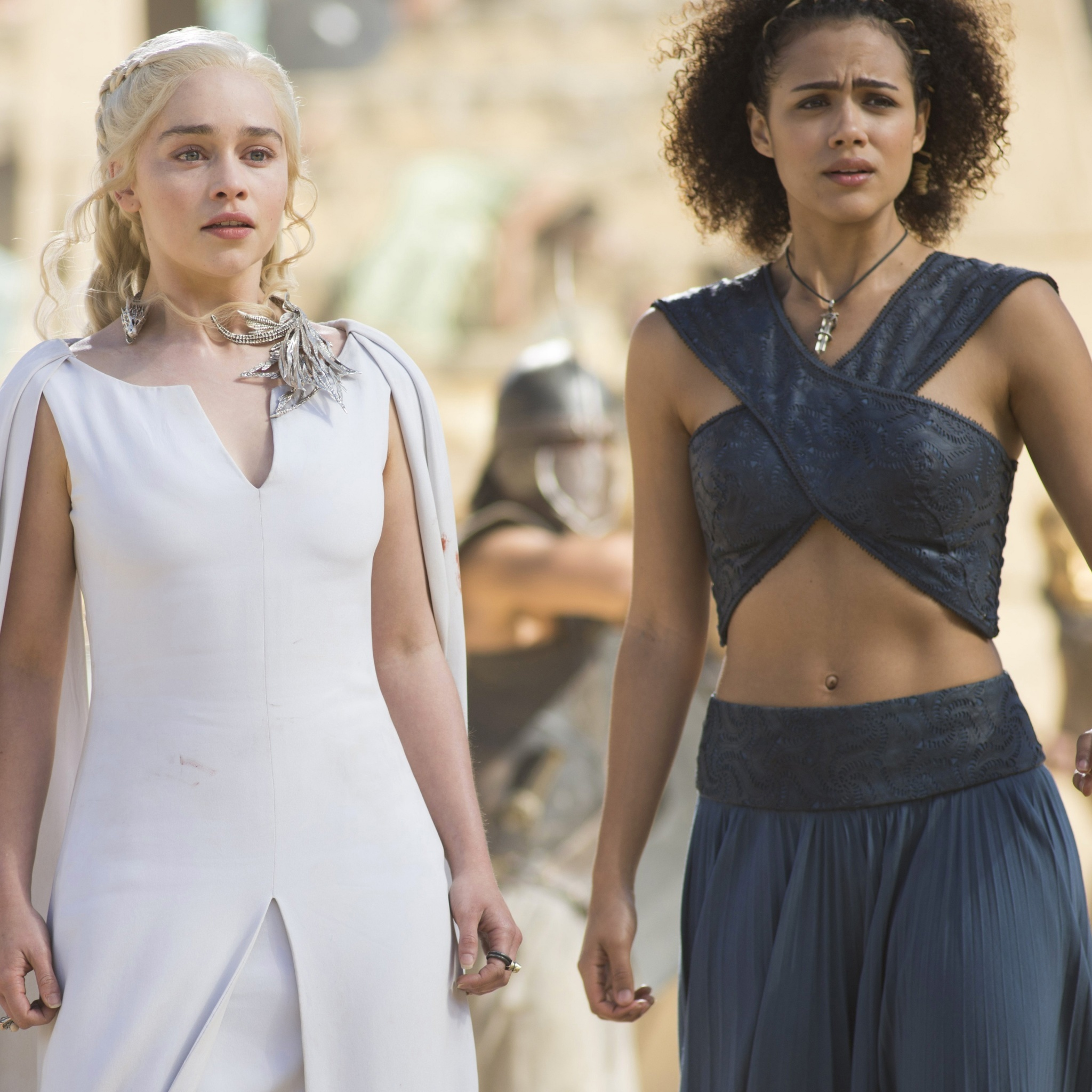 Обои Game Of Thrones Emilia Clarke and Nathalie Emmanuel as Missandei 2048x2048