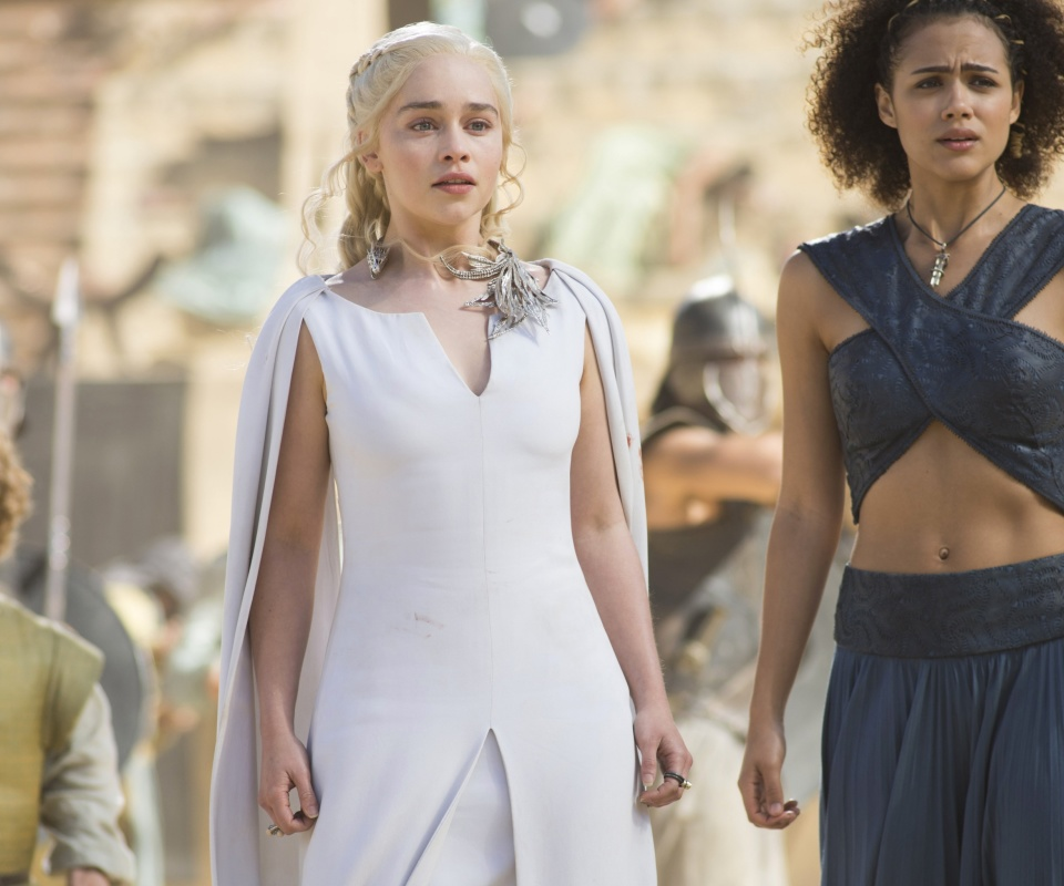 Game Of Thrones Emilia Clarke and Nathalie Emmanuel as Missandei wallpaper 960x800