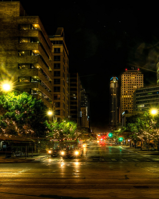 Kostenloses Houses in Austin HDR Night Street lights in Texas City Wallpaper für 320x480