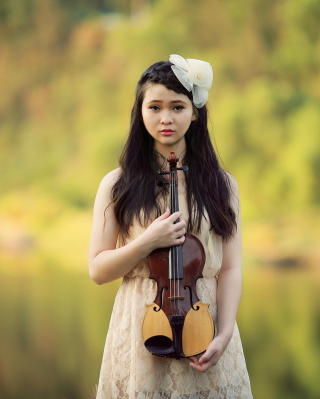 Girl With Violin Wallpaper for Nokia Asha 503