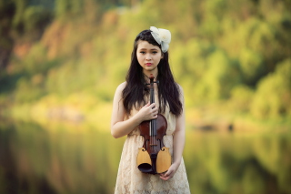 Girl With Violin Background for Android, iPhone and iPad