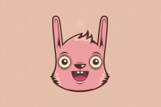 Funny Pink Rabbit Illustration Background for Android, iPhone and iPad