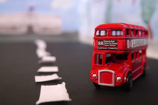 Red London Toy Bus Wallpaper for Android, iPhone and iPad