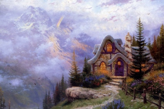 Thomas Kinkade Sweetheart Cottage Painting Wallpaper for Android, iPhone and iPad