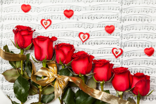Roses, Love And Music Background for 1024x600