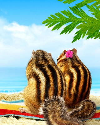 Chipmunks on beach Background for iPhone 6 Plus