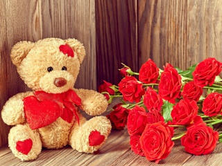 Screenshot №1 pro téma Brodwn Teddy Bear Gift for Saint Valentines Day 320x240