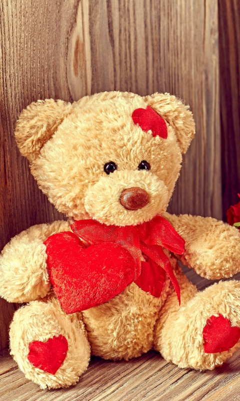Screenshot №1 pro téma Brodwn Teddy Bear Gift for Saint Valentines Day 480x800