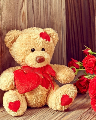 Kostenloses Brodwn Teddy Bear Gift for Saint Valentines Day Wallpaper für 480x800