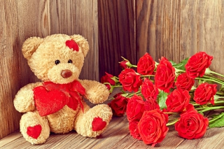 Brodwn Teddy Bear Gift for Saint Valentines Day Background for Android, iPhone and iPad