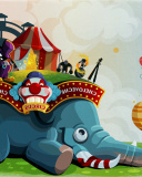 Screenshot №1 pro téma Circus with Elephant 128x160