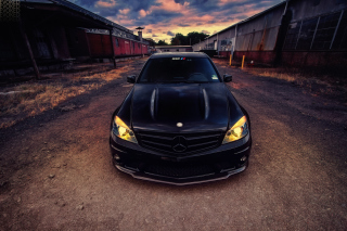 Black Mercedes C63 sfondi gratuiti per cellulari Android, iPhone, iPad e desktop