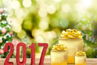2017 New Year with Gold Gift Background for Android, iPhone and iPad