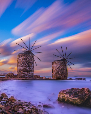 Windmills in Greece Mykonos Background for 240x320