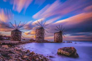 Windmills in Greece Mykonos Picture for Android, iPhone and iPad