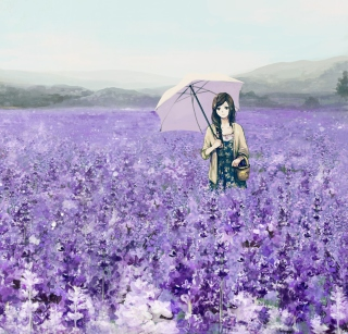 Girl With Umbrella In Lavender Field sfondi gratuiti per 1024x1024