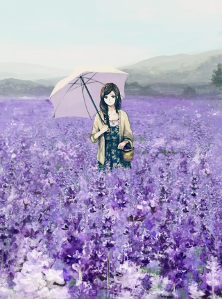 Girl With Umbrella In Lavender Field - Obrázkek zdarma pro Sharp FX