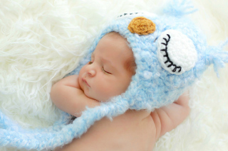 Cute Sleeping Baby Blue Hat Background for Android, iPhone and iPad
