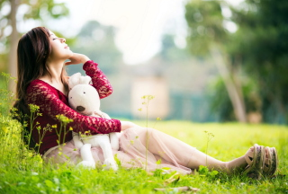 Cute Asian Girl With Plush Rabbit - Fondos de pantalla gratis para Desktop 1280x720 HDTV