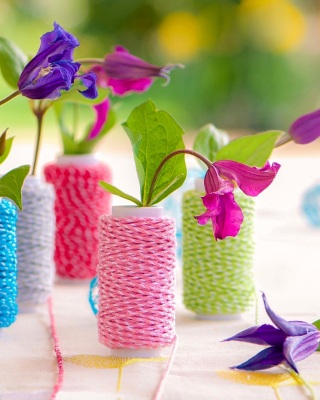 Knitted flower vases Background for HTC Titan