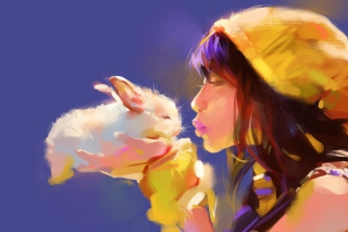 Обои Girl Kissing Rabbit Painting на Android 2880x1920