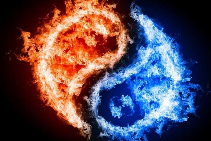 Yin and yang, fire and water wallpaper