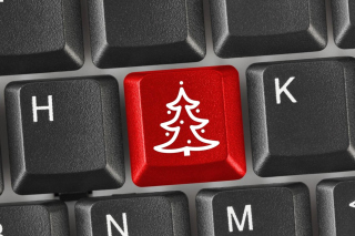 Kostenloses Christmas Tree on Computer Keyboard Wallpaper für Samsung I9080 Galaxy Grand