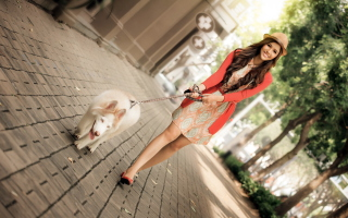 Pretty Girl Walking Her Dog Wallpaper for Android, iPhone and iPad