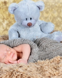 Baby And His Teddy wallpaper 128x160