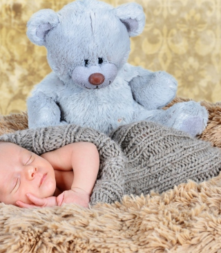 Baby And His Teddy Wallpaper for Nokia Asha 309