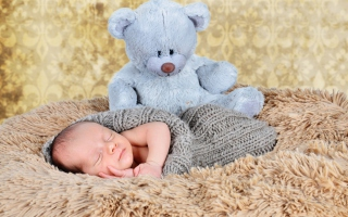 Baby And His Teddy Background for Android, iPhone and iPad