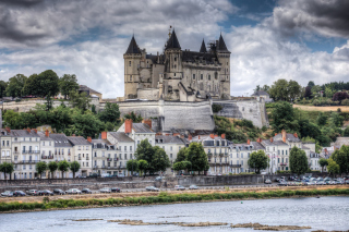 Saumur Castle on Loire Background for Android, iPhone and iPad
