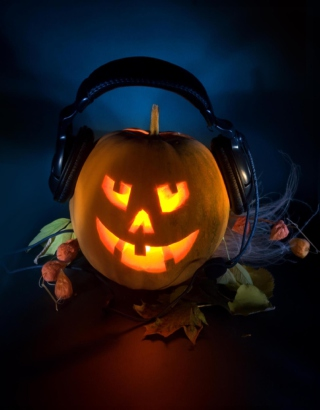 Pumpkin In Headphones Background for Nokia Asha 310