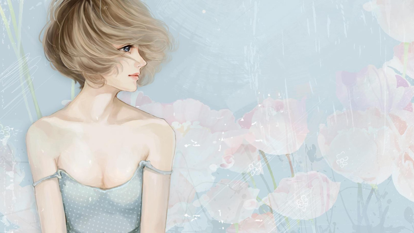 Screenshot №1 pro téma Pastel Tones Drawing Of Girl 1366x768