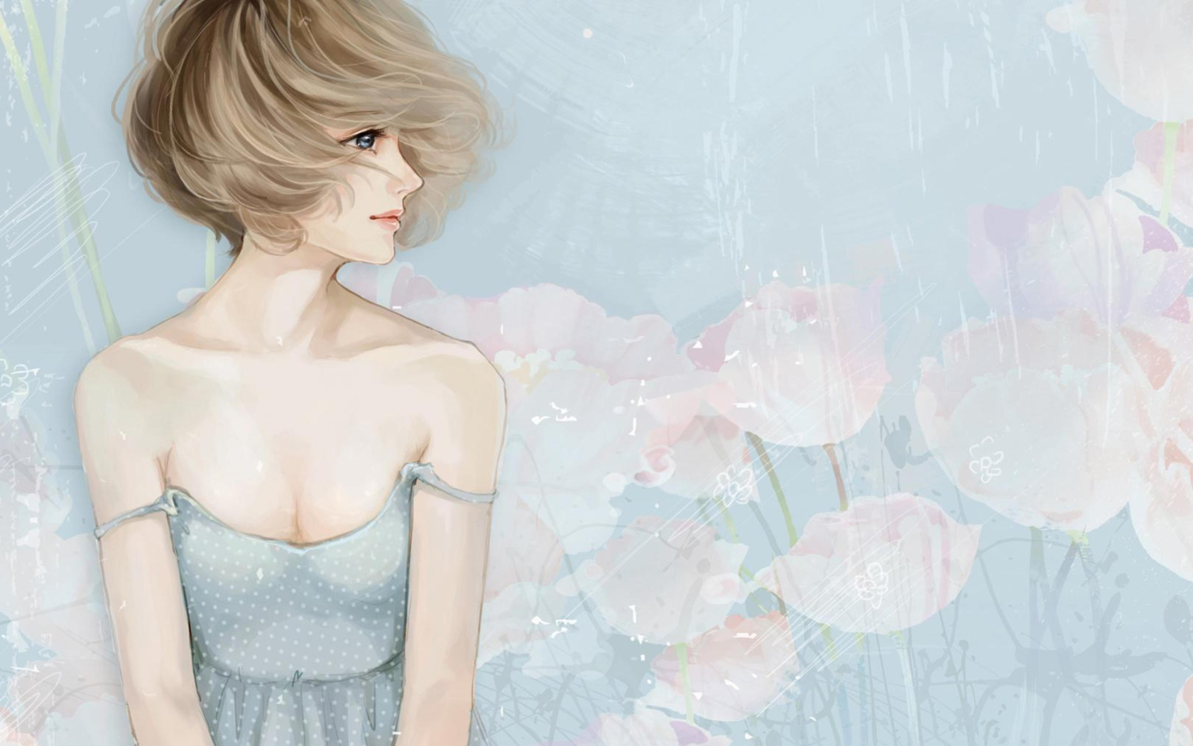 Screenshot №1 pro téma Pastel Tones Drawing Of Girl 1680x1050