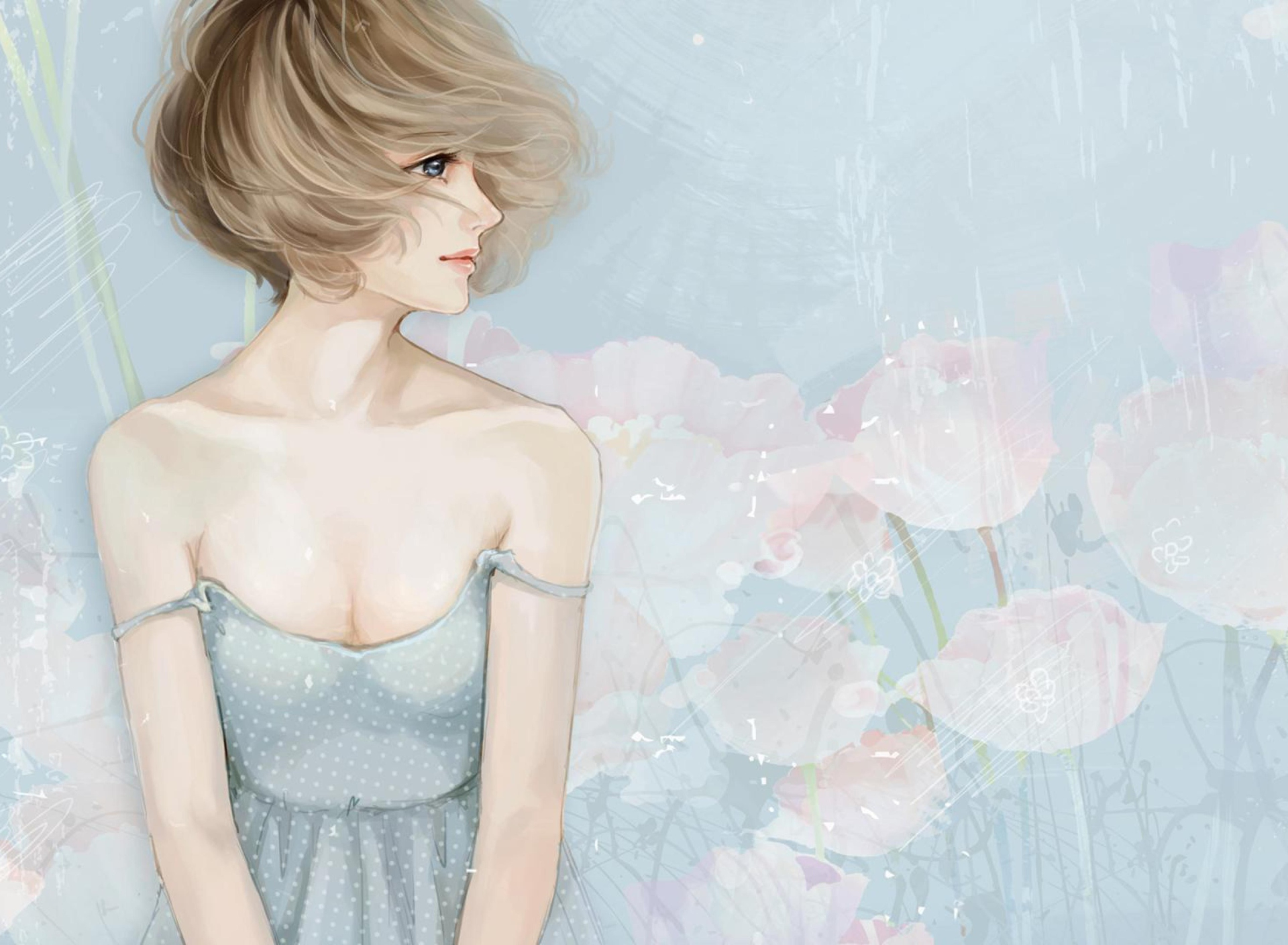 Screenshot №1 pro téma Pastel Tones Drawing Of Girl 1920x1408