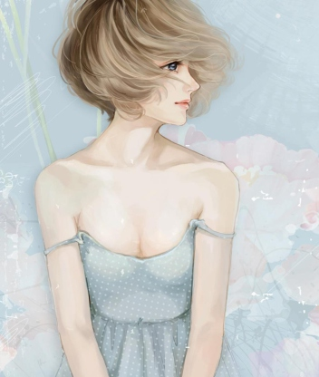 Screenshot №1 pro téma Pastel Tones Drawing Of Girl 352x416