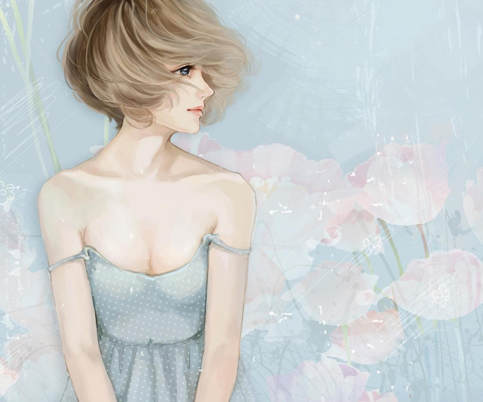 Screenshot №1 pro téma Pastel Tones Drawing Of Girl 960x800