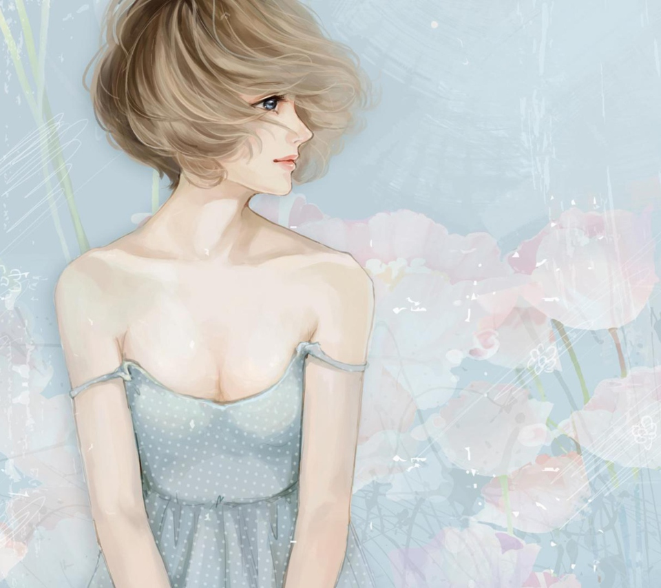 Screenshot №1 pro téma Pastel Tones Drawing Of Girl 960x854