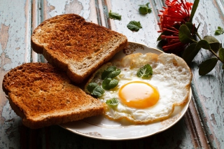 Breakfast eggs and toast Background for Android, iPhone and iPad