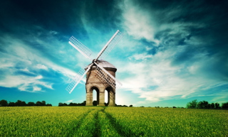 Old Mill In Field Wallpaper for Android, iPhone and iPad