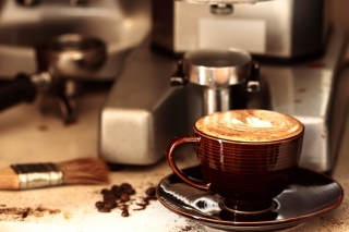 Coffee Machine for Cappuccino Background for Android, iPhone and iPad